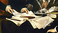 detail of negotiation documents from Declaration of Independence banner